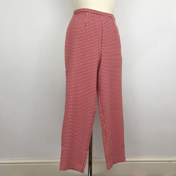 "Vintage gingham print 1950s style capri pants red white checked UK 12 14 1980s does 50s VLV pin up burlesque trousers long 28"" inside leg"