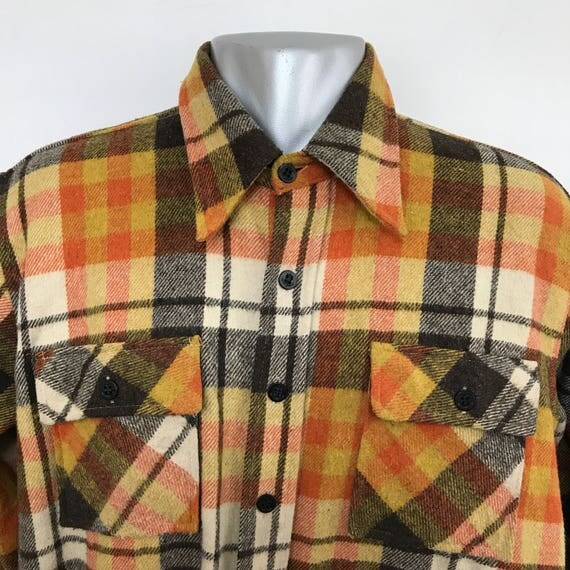 Vintage wool shirt orange yellow palid 70s does 40s menswear brown top Mans long sleeve long collar felt wool large Envoy