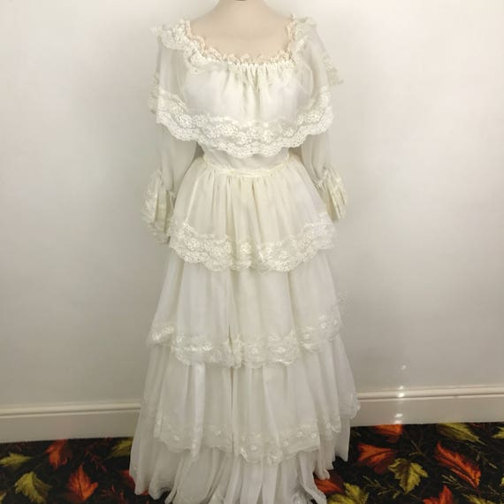 Vintage maxi dress 1970s white towred lacy prairie boho regency style 70s lacy tiered sheer bridal wedding UK 8 10 summer festival halloween