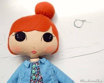 Tanya, handmade felt doll, 90's inspired