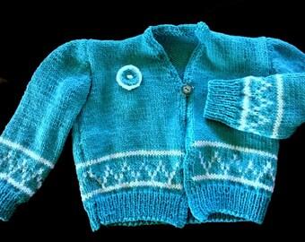 Knitting-blue vest is hand - knits-lili