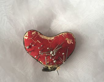 Vintage Pin Cushion Heart - Vintage Sewing Pins - Broken Heart Art - Vintage Sewing Room Decor - Broken Heart Gift - Voodoo Heart Decor
