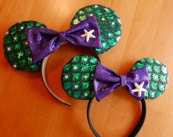 LIttle Mermaid Ears Headband, Mickey Minnie Ears Fast shipping
