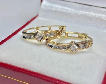 Beautiful Vintage Diamond Earrings l 10KT Yellow Gold Diamond Earrings l Gold Diamond Hoops
