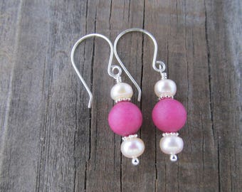Pink Earrings, Pearl Earrings, Glass Earrings, Argentium, Pearl Jewelry