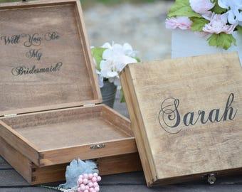 Will You Be My Bridesmaid Box Bridal Party Gift Bridesmaid Present Rustic Wedding Decor Bridal Party Gift - Bridesmaid Gift - Gift Box