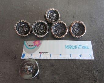 buttons round 2cm metal bronze