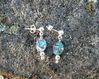 Sterling Silver Abalone Shell Post Earrings, Post Dangle Earrings, Abalone Earrings, Paua Shell Earrings