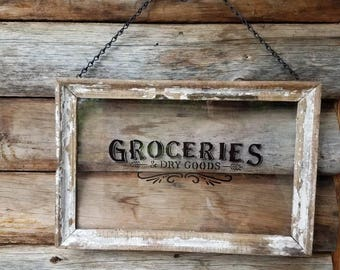 Groceries and Dry Goods Glass sign, Groceries Sign