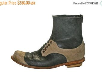 15% OFF Navy Cream Leather Boots for Men & Women - All Leather Soles - Casual Boots, Dress Leather Boots, Formal Boots, Handmade by Walkahol