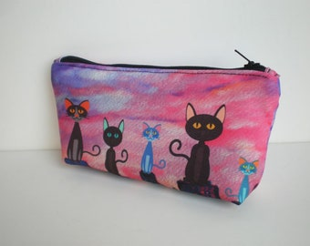 Cosmetic bag, Makeup bag, zipper pouch, pencil case, make up bag, cat, small bag, fabric pouch, cats, pouch, cat bag, cat makeup bag
