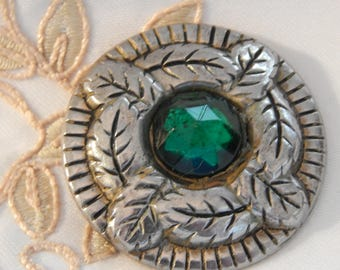 Stamped Tin Button with Green Glass Center and Feather or Leaf Design