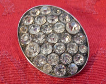 Rhinestones in a Silvered Brass Oval Frame - Antique Button