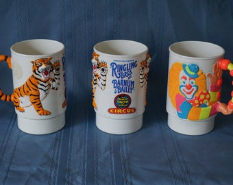 RARE Vintage Cups Circus Souvenirs 1988 1990 Clown Tiger Ringling Bros Barnum & Bailey 3 available Greatest Show On Earth Kids