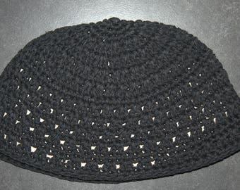 Frik Kippah Yarmulke Yamaka Black Crochet Thick Knit Judaism Israel 21cm Judaica