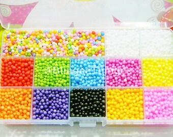 SaLe Mini Styrofoam Balls Plus Storage Box Clear Case Container 2mm 3mm 4mm Polystyrene 5000 Filler Foam Ball Beads DIY Slime Floam Crafts