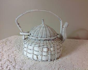 Wicker Teapot Wicker Teapot Planter White Wicker Teapot