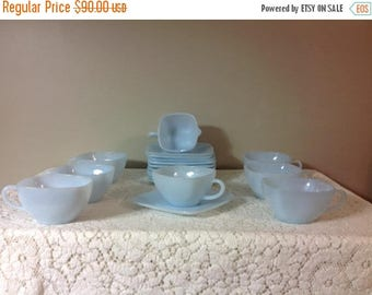 4th of July sale Blue Fireking Tea / Coffee Cups and Saucer Plates and Creamer Azurite Fireking Cups and Saucer Plates Ice Blue Tea Cups and