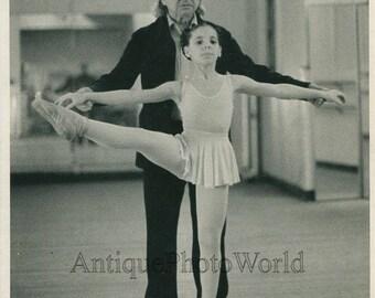 NY ballet instructor V. Celli w student vintage photo