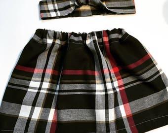 Girls Black and Red Plaid Skirt, Girls Plaid Skirts, Skirts For Girls, Toddlers Plaid Skirts, Baby Girl Plaid Skirts, Girls Skirt Sets