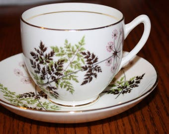 Duchess Bone China Tea Cup & Saucer in Fern Leaf Pattern Made in England