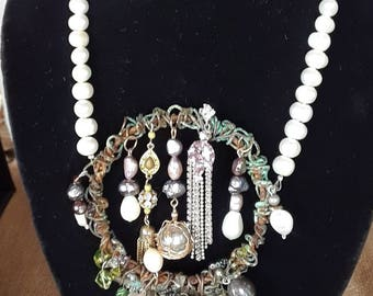 Pearl and Patina Fantasy Necklace