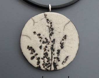Crew neck, flowers #5 raku pendant Locket