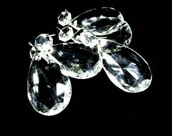 Set of 5 Tear Drop Crystal Chandelier Prisms, West Germany, Large Tear Drop, Chandelier Salvage, Crystal Chandelier Prisms, 5 Sets Avail