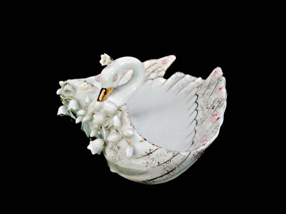 Lefton Swan Dish, Lefton Trinket Dish, Ornate Lefton China, Hand Painted 127