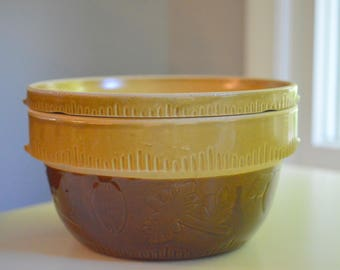 Cook Rite Stoneware Pottery Bowl and Pie Plate Set 1930's