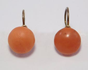9ct Victorian Salmon Coral Leverback Earrings