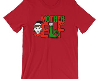 Mother Elf Family Portrait Christmas Picture Shirts