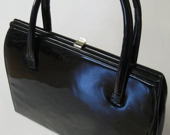 Kelly-style bag, 1950s-60s vintage black patent handbag, wet-look vinyl bag