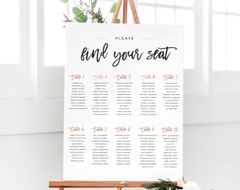 """Rose Gold """"Please Find Your Seat"""" Seating Chart Sign - Wedding Seating Chart in Rose Gold - The Penny Set"""