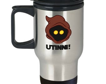 Star Wars Jawa Utinni! Gift Travel Mug Funny Droids Jedi Coffee Cup Tatooine