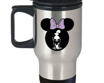 Disney Minnie Mouse Haunted Mansion Travel Mug Gift Stretching Tightrope Disneyland Fan Coffee Cup