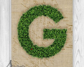 Moss Letter, Moss Monogram Poster, Monogram Letter G Art, Wedding Home Decor, Country Wedding Decor, Moss & Burlap Initial Poster