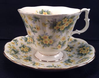 Footed Cup & Saucer Set /Drury Lane Pattern by Royal Albert/ With Yellow Flowers,Nell Gwynne Series, Vintage Bone China