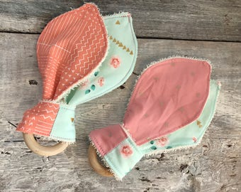 Matching toy teething 'vintage flowers' and fabric (may vary) Terry cloth backing