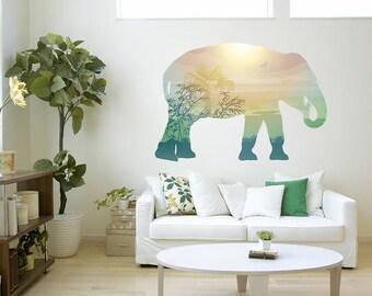 Elephant Savannah Landscape Silhouette Vinyl Wall Decal Graphics Bedroom Home Decor