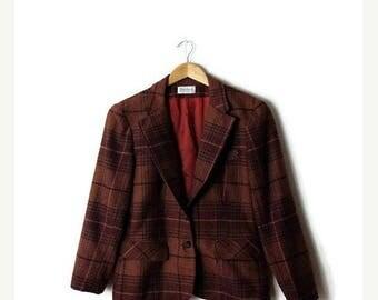 ON SALE Vintage Tartan Plaid / Checked Wool Blazer Jacket from 70's*