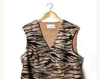 ON SALE Vintage Tiger Pattern/Animal Print Vest from 80's*