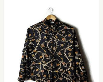 ON SALE Vintage Black x jewelry patterned Long sleeve Silky Blouse from 1980's*
