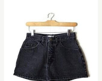 ON SALE Vintage Black Denim Shorts from 90's/W24*