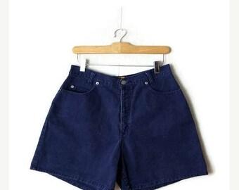 ON SALE Vintage Navy/Dark Blue High Waist Denim Shorts from 1980's/W28*