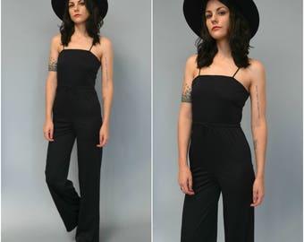 1970s wide leg black jumpsuit