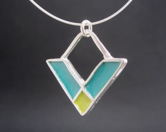 Crossroads Necklace - New Century Modern Jewelry - Green and Blue Reversible Enamel Necklace