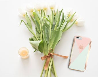 Pastel Shades and Rose Gold Hard Case Otterbox Symmetry iPhone 6 / iPhone 7 / Galaxy S7 , Galaxy S8 , Galaxy S8 Plus - Platinum Edition