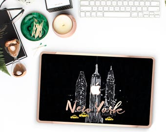 New York City Skyline and Rose Gold Edge Hybrid Hard Case for Apple Mac Air & Mac Retina , New Macbook 2016 - Platinum Edition