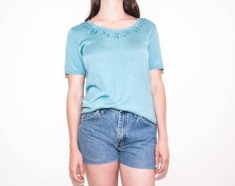 80s 90s mint green embroidered knit t-shirt / shimmery floral short sleeve top / size L